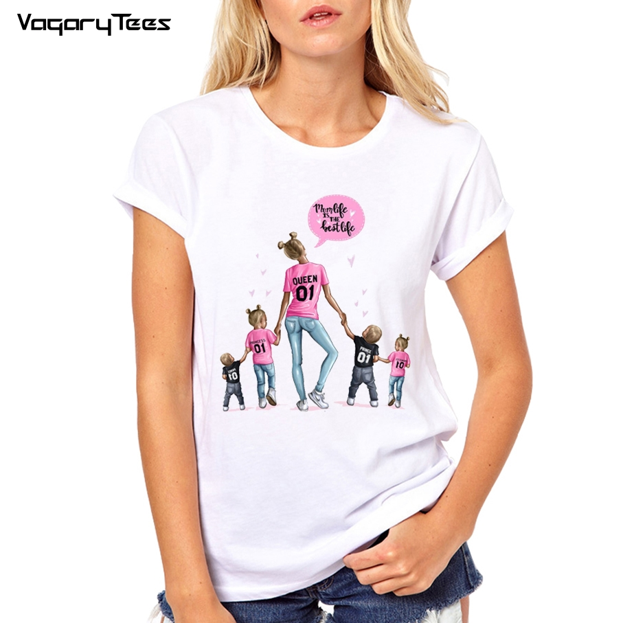 Family Matching Clothes T Shirt Super Mom With Son Daughter Mum T Shirt Tops Kids Baby Girl Boys Casual Super Mama T Shirt