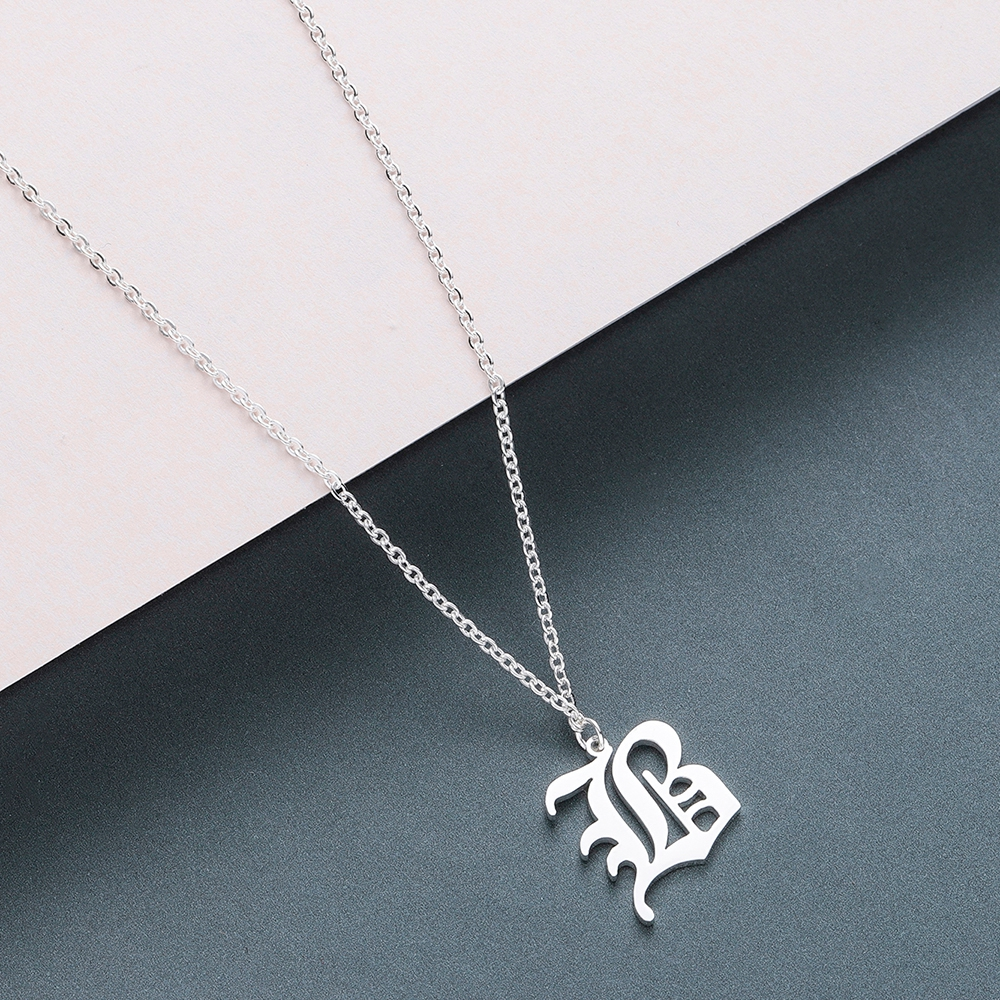 Todorova Old English Custom Capital Initial A-Z Letter Pendant Necklace Men Vintage Font Personalized Necklace Women Jewelry 5