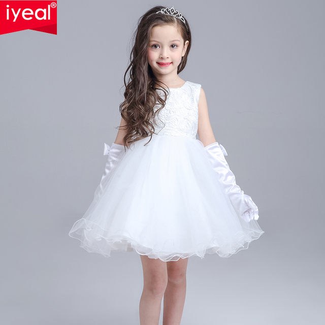 IYEAL Baby Girl Birthday Wedding Party Formal Flower Girls Dresses Little Girl  Sleeveless Knee Length Pageant dress with Big Bow 047126675bbe