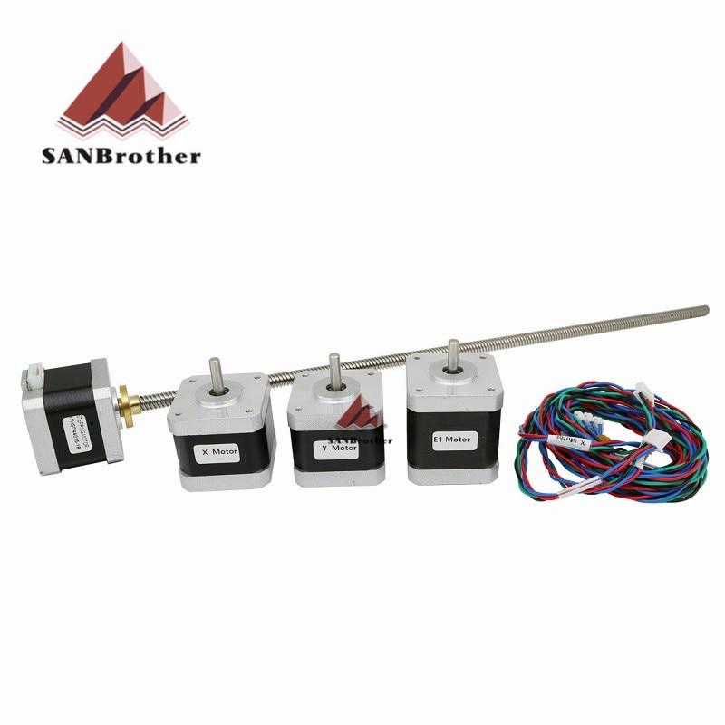 Ultimaker 2 Estendida UM2 X/Y/Z eixo + extrusora stepper motor kit/set para DIY 400 m L Z-Motor com Parafuso de Avanço trapezoidal