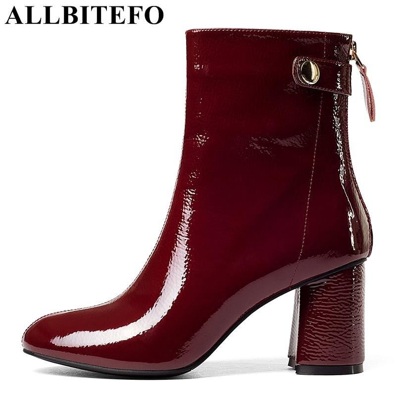 ALLBITEFO ブランドファッション本革の女性の女性のハイヒールのブーツセクシーなワイン赤足首のブーツ冬のバイク用ブーツ  グループ上の 靴 からの アンクルブーツ の中 1