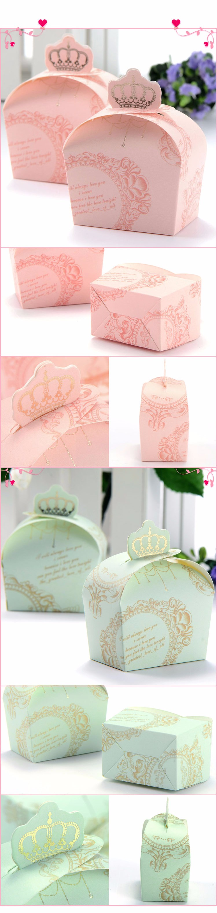 50 pieces/lot) Wedding Decorations Pink Color Crown Candy Box Gift ...