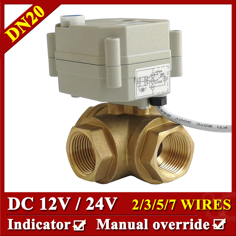 3/4'' 3 way horizontal type Motorized ball valve DN20 Brass electric ball Valve DC24V DC12V for Water Automatic Control 3 4 ac dc24v electric motor control valve 3 way on off type dn20 with manual override can open any angle for water control