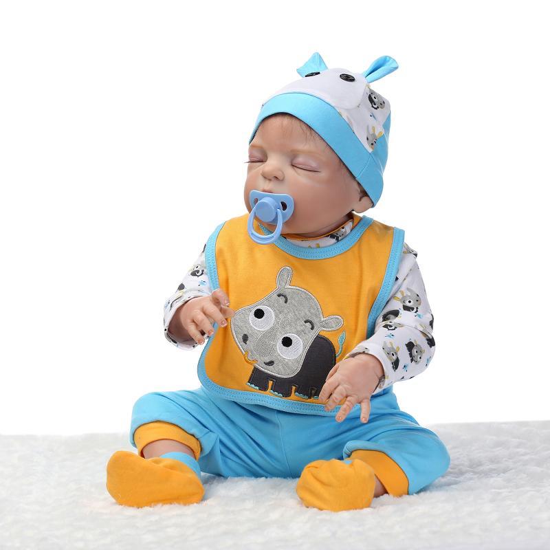 New 23 Inch/57cm reborn baby dolls full silicone body boy gender closed eyes can enter water reborn babies toys bonecas