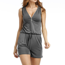 Casual Beach Playsuits  Sexy Women Jumpsuits Shorts Solid Summer Sleeveless V-neck Zipper Playsuits Overall Plus Size GV686