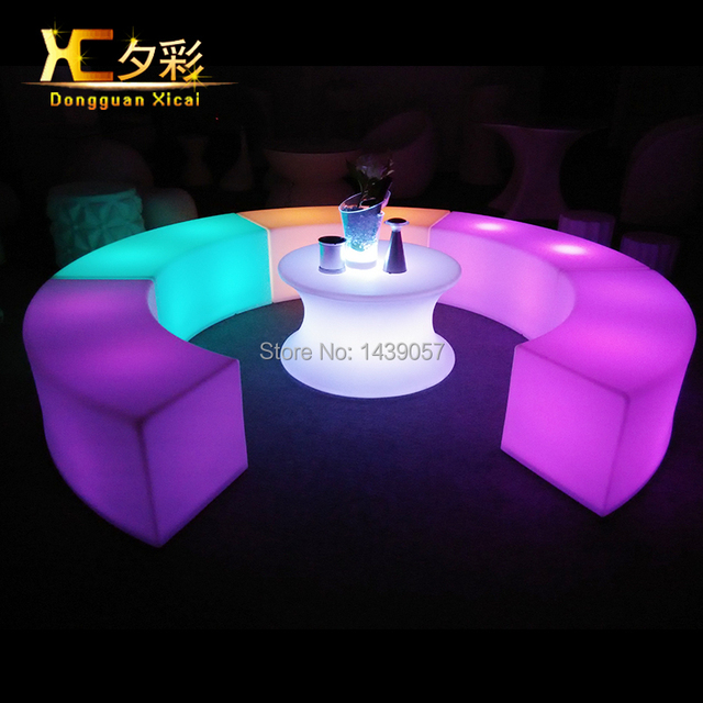 Nice Plastic Ligt Up LED Bar Stool Rechargeable Night Club Furniture Garden  Glowing Chair Hotel Curved Stools