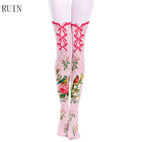 2017 Spring New Fake High Tube Lattice Flowers And Birds Bow Tie With Pantyhose Girl Female