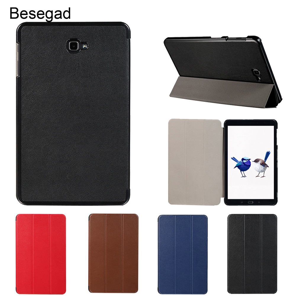 Besegad Mini Ultra Thin Foldable Smart Cover Case Skin Shell Stand Holder for <font><b>Samsung</b></font> <font><b>Galaxy</b></font> <font><b>Tab</b></font> <font><b>A</b></font> <font><b>T580</b></font> T585 T 580 T 585 Gadgets image