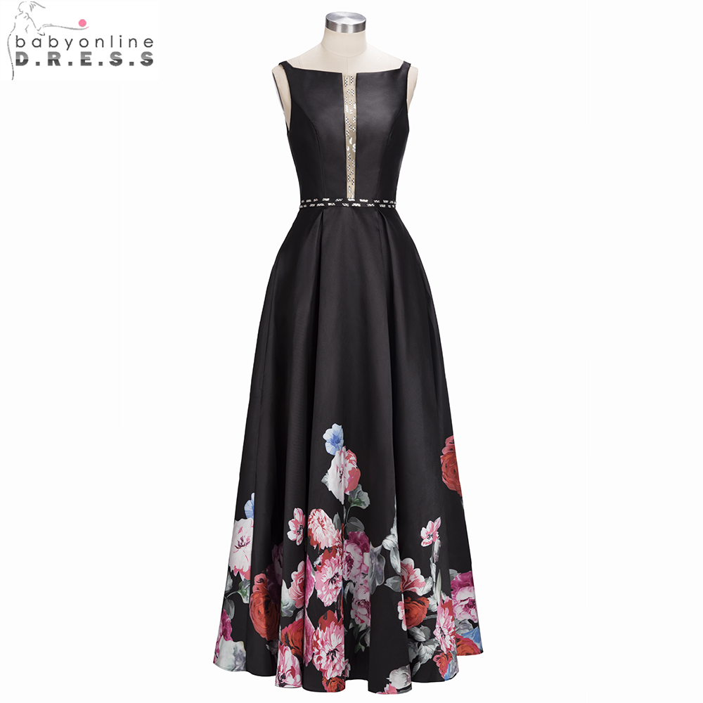 Babyonline Black Printed A-Line   Evening     Dresses   2019 Beaded Crystal Formal   Dress   Satin Party   Dresses   vestido de festa