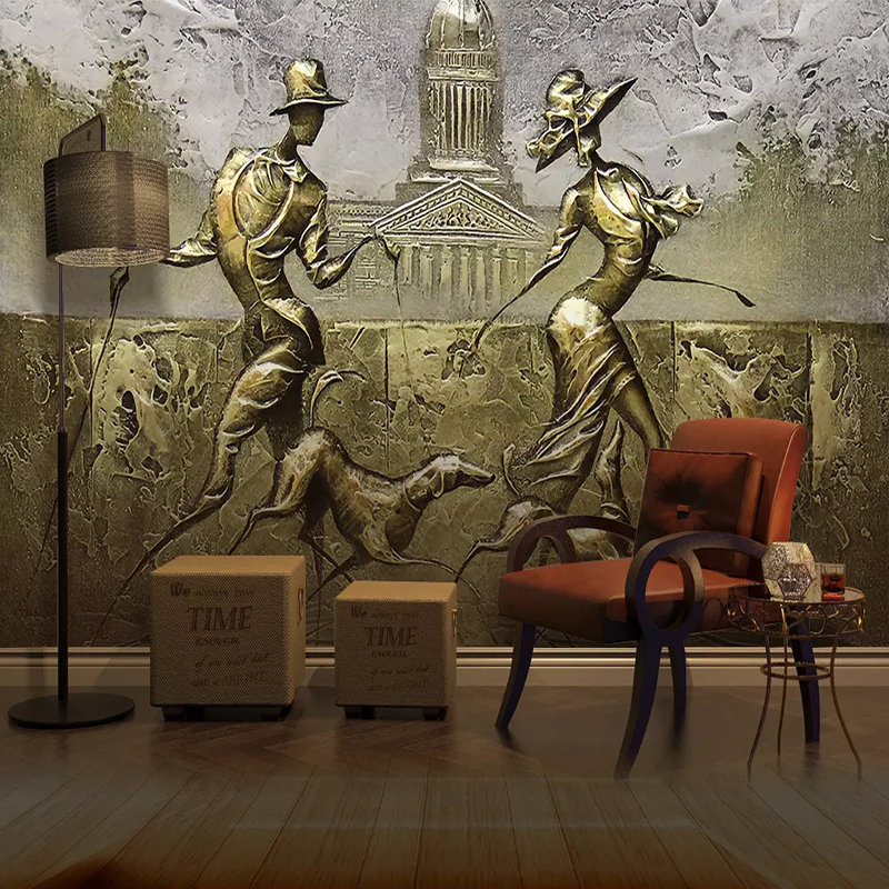 European Style 3D Stereo Golden Lovers Dog Mural Wallpaper Living Room TV Sofa Background Wall Painting Papel De Parede 3D Decor