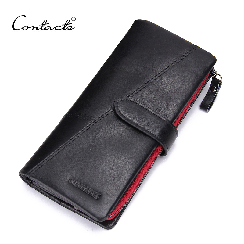 CONTACTS Guarantee 100% Genuine Leather Men Clutch Wallet Vintage Hasp Design Male Long Purses With Coin Pocket And Card Holder