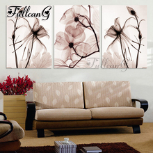 FULLCANG diy 3 pieces diamond painting transparent flower triptych mosaic cross stitch 5d embroidery full square drill G1285