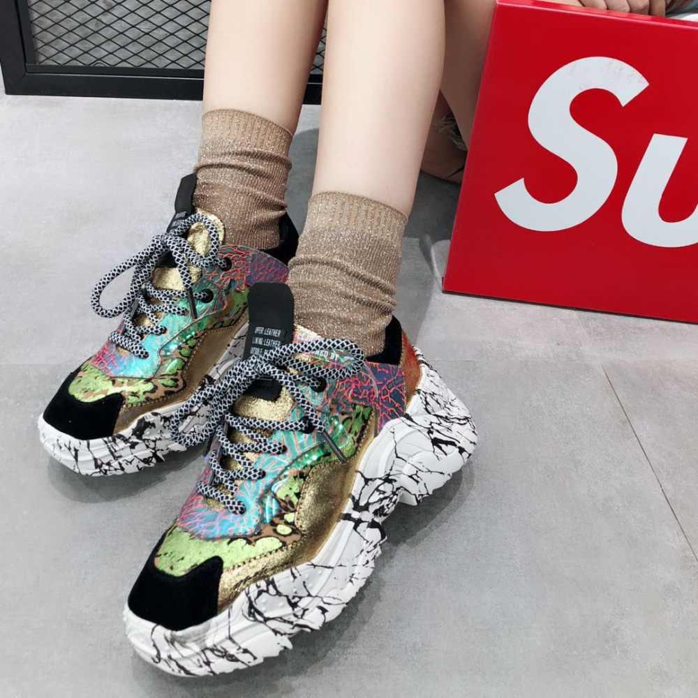 Prova Perfetto 2019 รองเท้าผ้าใบอินเทรนด์ Chunky พ่อรองเท้า Laces รองเท้าสีใหม่จับคู่ Camouflage รองเท้าผ้าใบ Chaussures