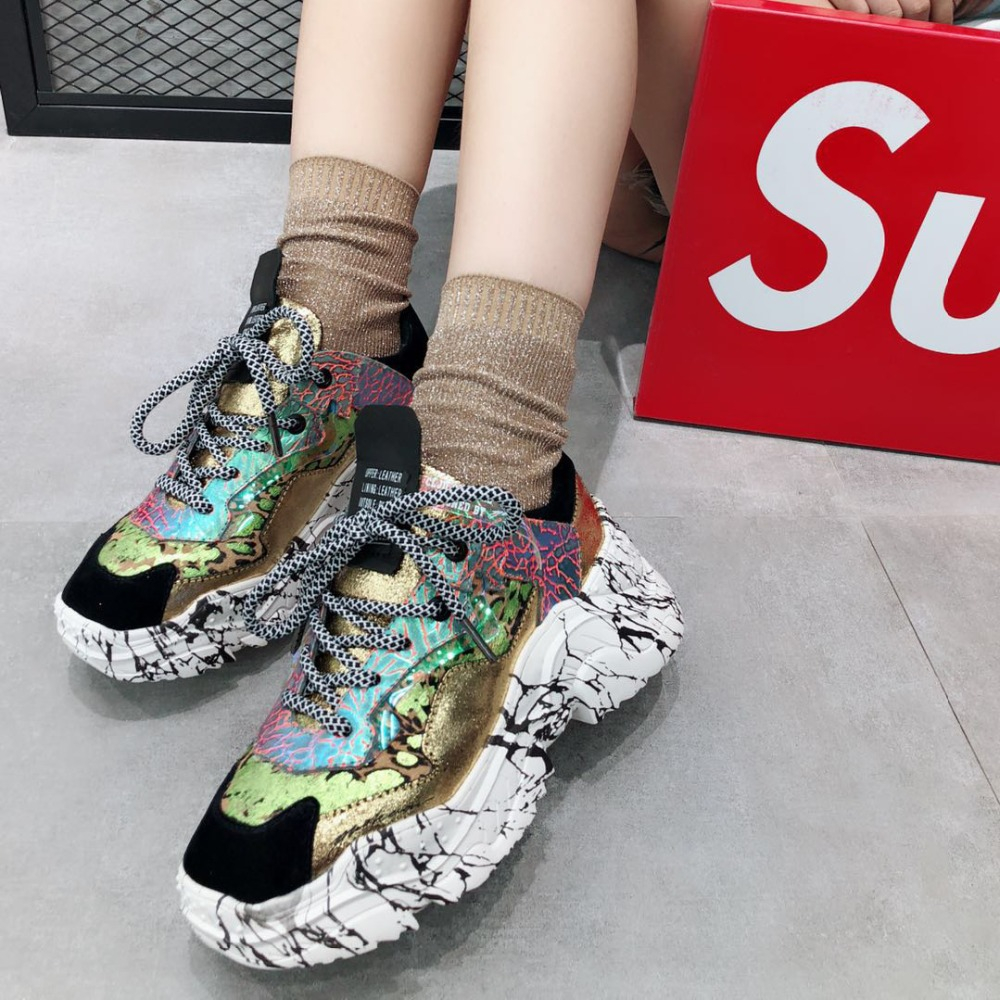 dacd3a9815 Prova Perfetto 2019 Sneakers Women Trendy Chunky Dad Shoe Laces Platform  Shoes New Color Matching Camouflage Sneakers Chaussures