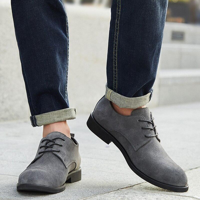 47 per Moda Shoes Oxfords Merkmak 38 leggero Big Genuine Outdoor Leather Uomo Black Size Brownoxfords grigio Party Casual Oxfords Autunno elegante Primavera New 8qvwtqT
