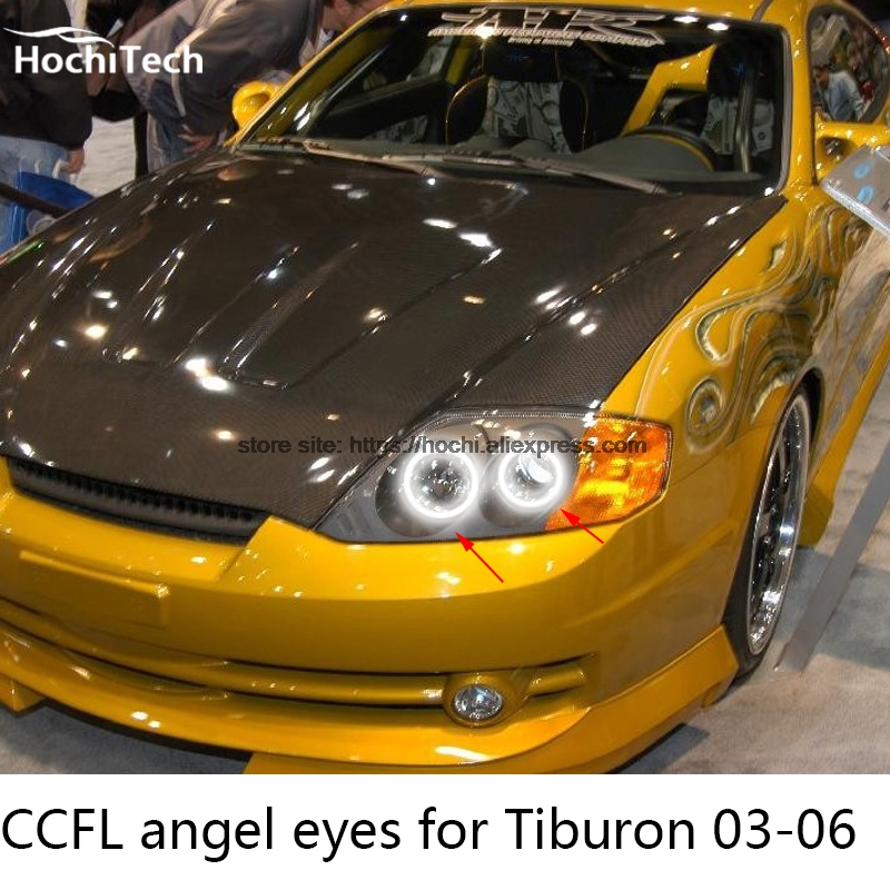 Hochitech Excellent Ccfl Angel Eyes Kit Ultra Bright Headlight Illumination For Hyundai Tiburon 2003 2004 2005 2006