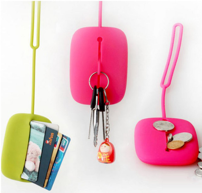 Cute mini solid change bags woman girl Coin Purses colorful Silicone key bags wallet small bag hanging purse bag case