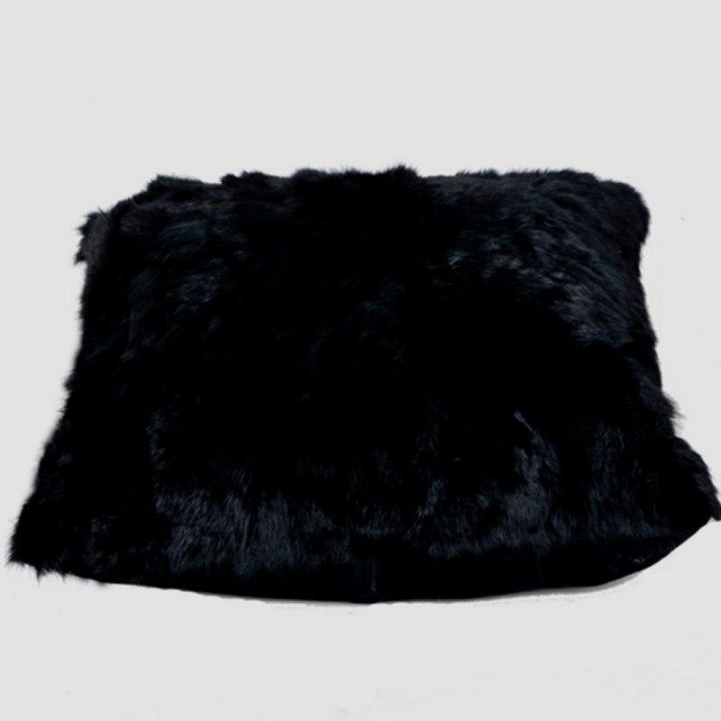 Noir De Fourrure De Lapin Coussin Couverture Réel De Fourrure Oreiller Couvre Almofadas Décoratifs Oreillers Capa De Almofada