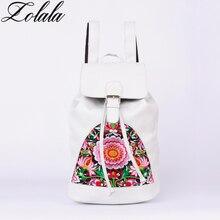 Zolala Брендовые женские 100% натуральная кожа рюкзак сумка для ноутбука женские ручной работы вышитые сумки для путешествий школьный рюкзаки для девочек