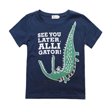купить 2019 New Summer Fashion Boy T-Shirt Cartoon Crocodile Print Children Casual Clothes Baby Boy Short Sleeve Cotton Kids T shirt по цене 652.61 рублей