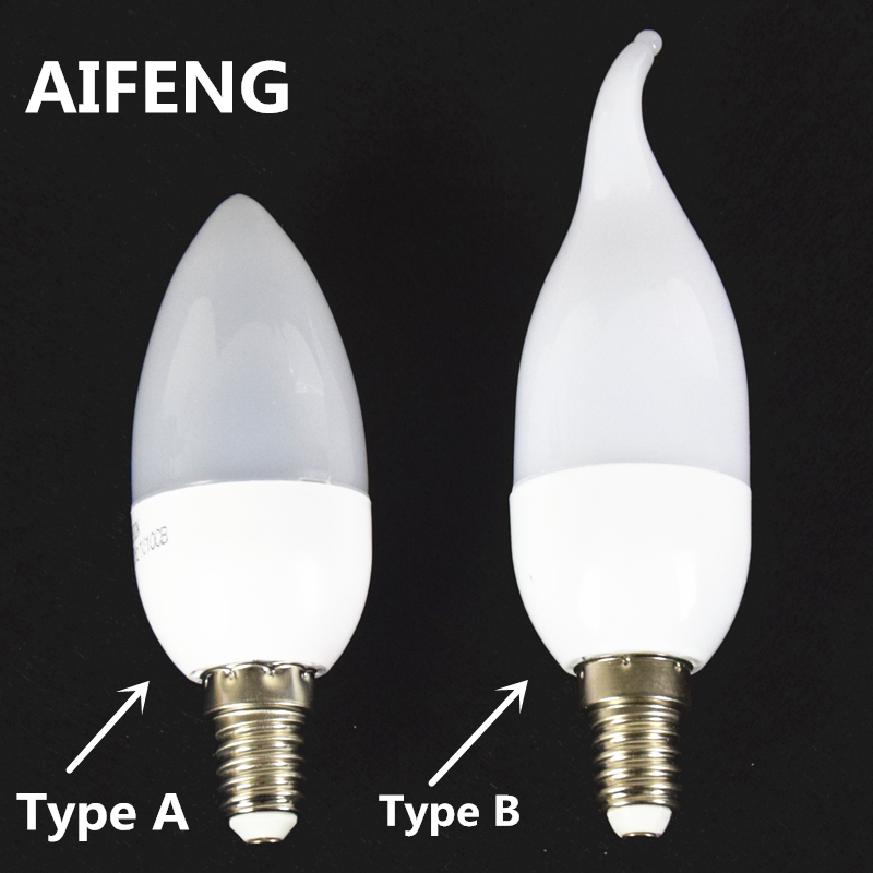 AIFENG Led Candle Light Bulb E14 SMD2835 AC 220V Energy Saving Lamp Home Decoration Led Lamp 3W Cold White/Warm White