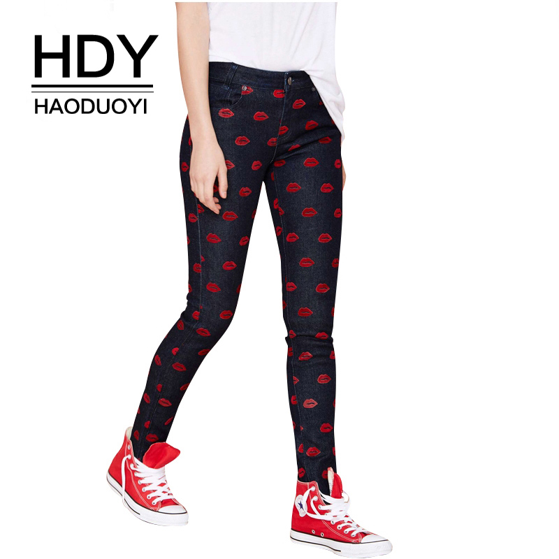 HDY Haoduoyi Brand 2018 Black Sexy Lips Print Jeans Women Low Waist Skinny Vintage Female Bottoms Slim Casual Jeans for Women