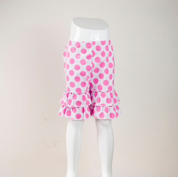 Wholesale New summer polka dot ruffle girls short pants pajamas bottom double ruffle kids shorts 100% knit cotton ruffle shorts фото