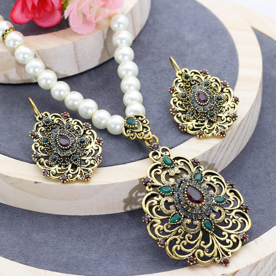Romantic Vintage  Pearl Beaded Morocco Jewelry Sets Antique Gold Color Necklace & Earrings Women Anniversary Party Jewelry Gift