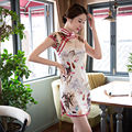 Sexy Silk Satin Mini Cheongsam Chinese Traditional Evening Dress Qipao QP145