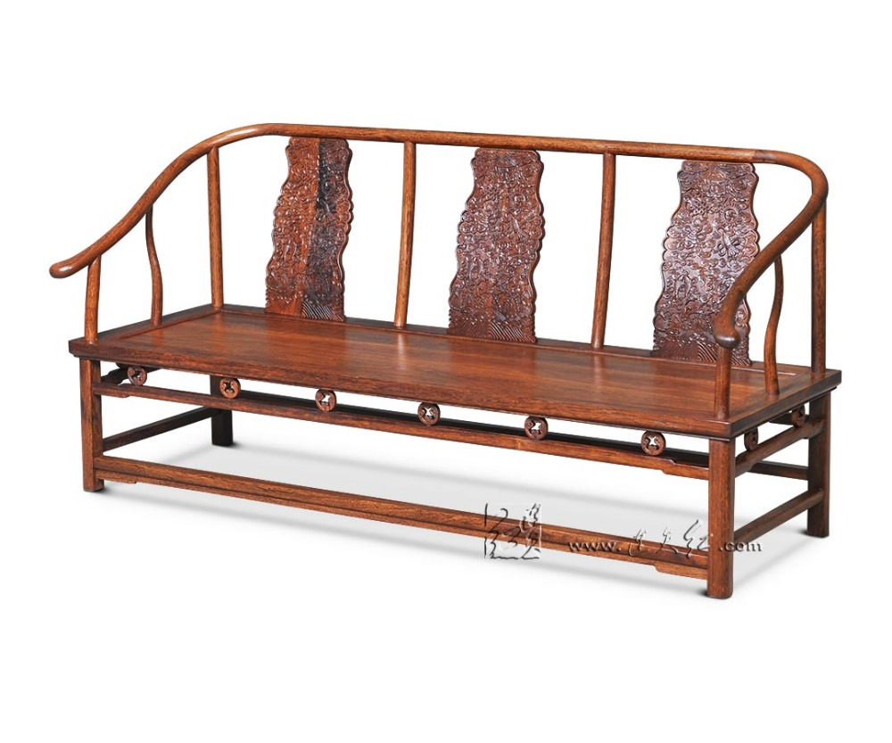 3 Seat Sofa Bed Chinese Royal Rosewood Furniture Living Drawing Room Solid  Wood Chaise Lounge Red