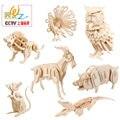 O envio gratuito de educação precoce das Crianças modelo animal de madeira puzzles brinquedos criativo estereoscópico 3D jigsaw puzzle/one piece