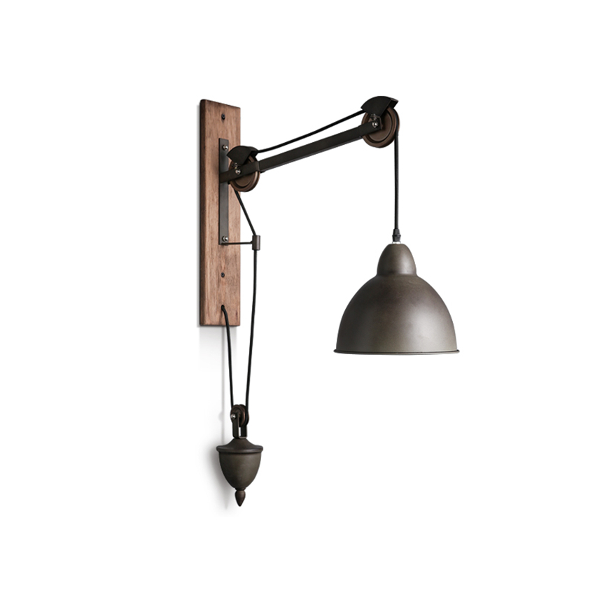 Vintage Bar Rustic LED Loft Wall Lights Spindle Pulley Lamps E27 Sconce Industrial Lighting Coffee Shop Retro Fixture