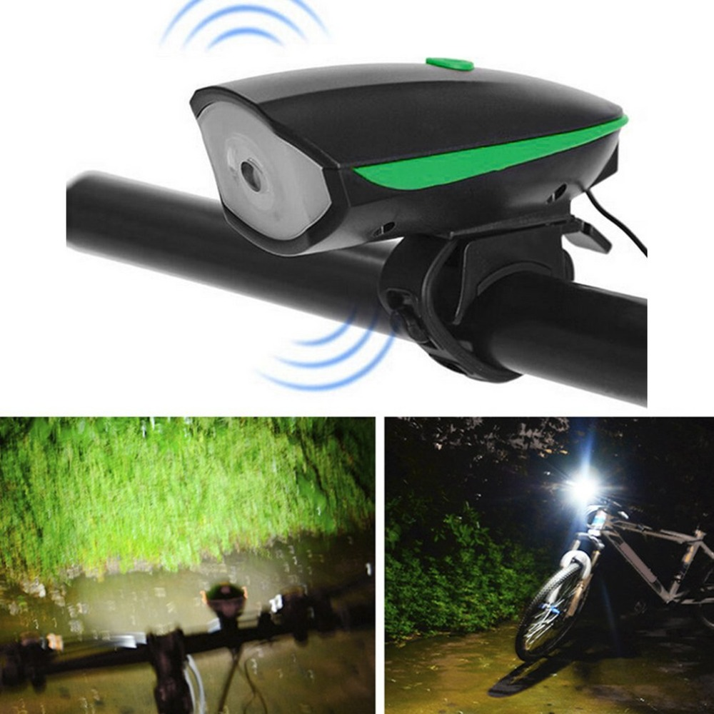 Super Bright Bicycle Bike Horn Light Headlight Waterproof Nigh Safety USB Cable Electric Riding Cycling Horn Bell Bike Accessory