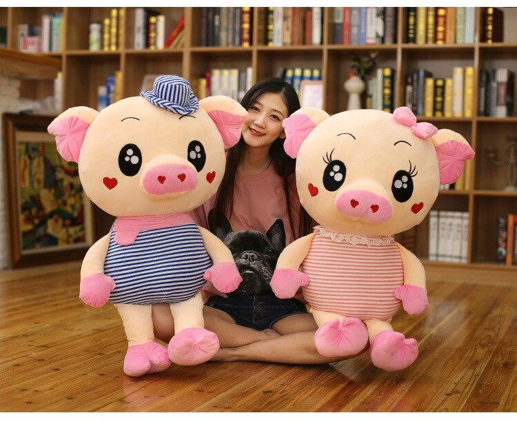 Grand 70 cm dessin animé amour cochon en peluche jouet rayures conception cochon doux poupée câlin oreiller cadeau de noël b1603