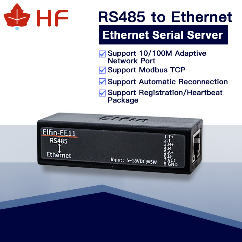 HF EE11 MINI RS485 Serial Server To Ethernet ModbusTCP Serial To Ethernet RJ45 Converter With Embedded Web Server