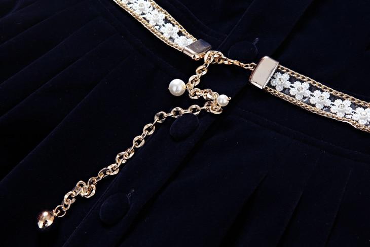 Chaude Velours Bouton De Elbise Royal Automne Hiver Manches 3 Femmes K1lFJc