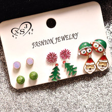 Hot new European and American style, fashion women jewelry, girls gathering, Christmas tree snowflake, old man earring earrings,(China)