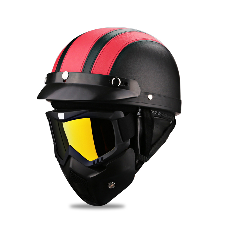 Men Women Vintage Motorcycle Helmets Jet Fashion Leather Biker Scooter Motorcycle Half Face Helmet Retro + Motor Goggles