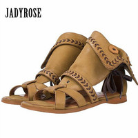 Jady Rose Vintage Khaki Women Genuine Leather Gladiator Sandals Lace Up Flat Shoes Woman Casual Beach