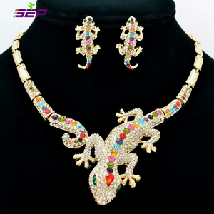Image 4 - Fashion  Animal Gecko Lizard Necklace Earring Sets with Rhinestone Crystal Women Jewelry Set FA3274