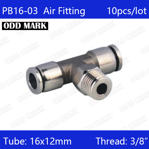 Free shipping 10pcs/lot 16mm to 3/8 PB16-03,304 Stainless Steel Tee Male Connector цена