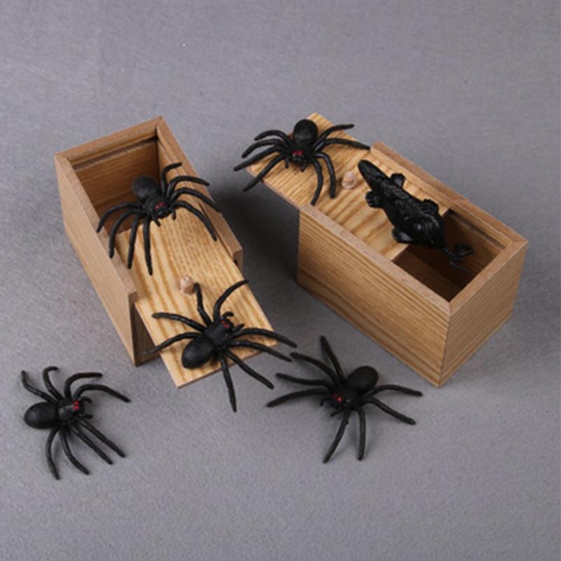 Scare Box Wooden Prank Spider Hidden in Case Trick Play Joke Terror Gag Toys