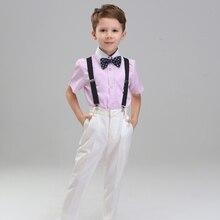 Toddler Boys Short Sleeve Striped Celebration 4pcs/set Handsome Show/efficiency/marriage ceremony Groom Formal Blazers Suit Sets