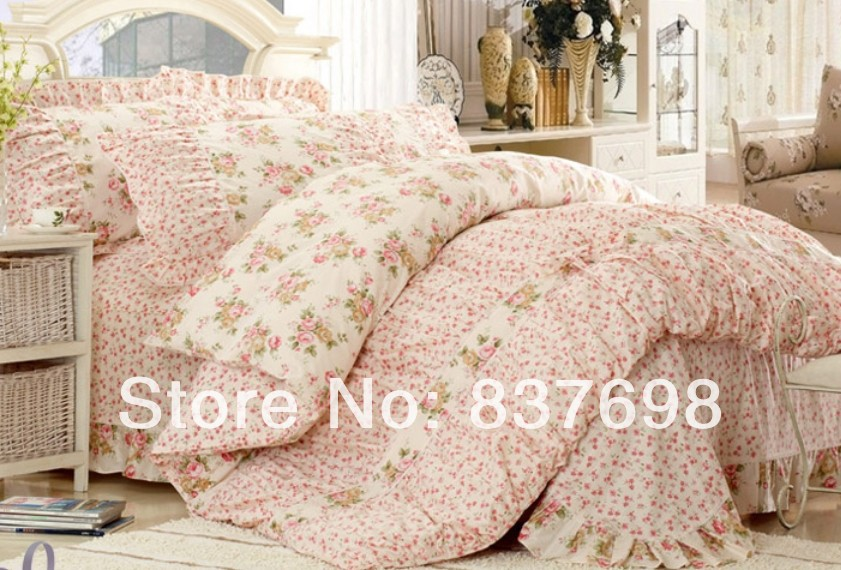 Pink Princess Lace Bedding Set 4pcs King Queen Classic