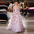 New Arrival Georges Hobeika 3D Flowers Celebrity Dresses Luxury Beads Dark Pink Elegant Evening Prom Gown Sexy Red Carpet Dress