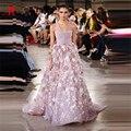 Nueva Llegada Georges Hobeika 3D Flores Vestidos de La Celebridad de Lujo Perlas Rosa Oscuro Elegante Vestido de Noche de Baile Vestido Sexy Red Carpet