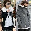 Zanzea mulheres outono inverno quente grosso casaco de lã com zíper com capuz casaco outerwear hoodies casual feminino camisola plus size
