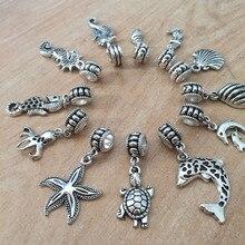 Mix 36pcs Ancient Silver Big Hole Loose Beads With Marine Animal Charm Fit Pandora Charm Bracelet DIY Pendant Jewelry Making