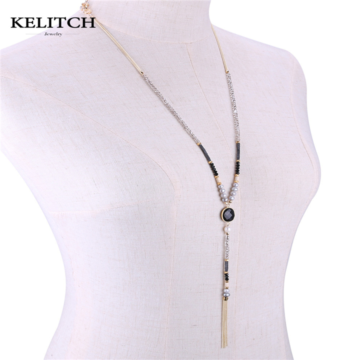 KELITCH Jewelry 1Pcs Hot Sale Sweater Necklace Black Crystal Beads Necklace with Gold Color Chain Pendant Necklace AMN0312D