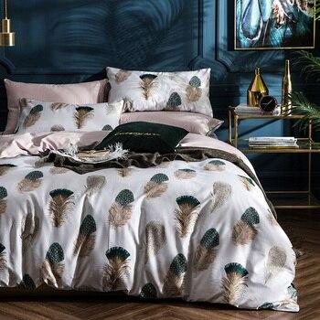 60S High Quality long staple cotton Duvet Cover 4pc Neo Boho Bedlinen Sheet Peacock feathers Dream Catch Boho Bedding Queen Size